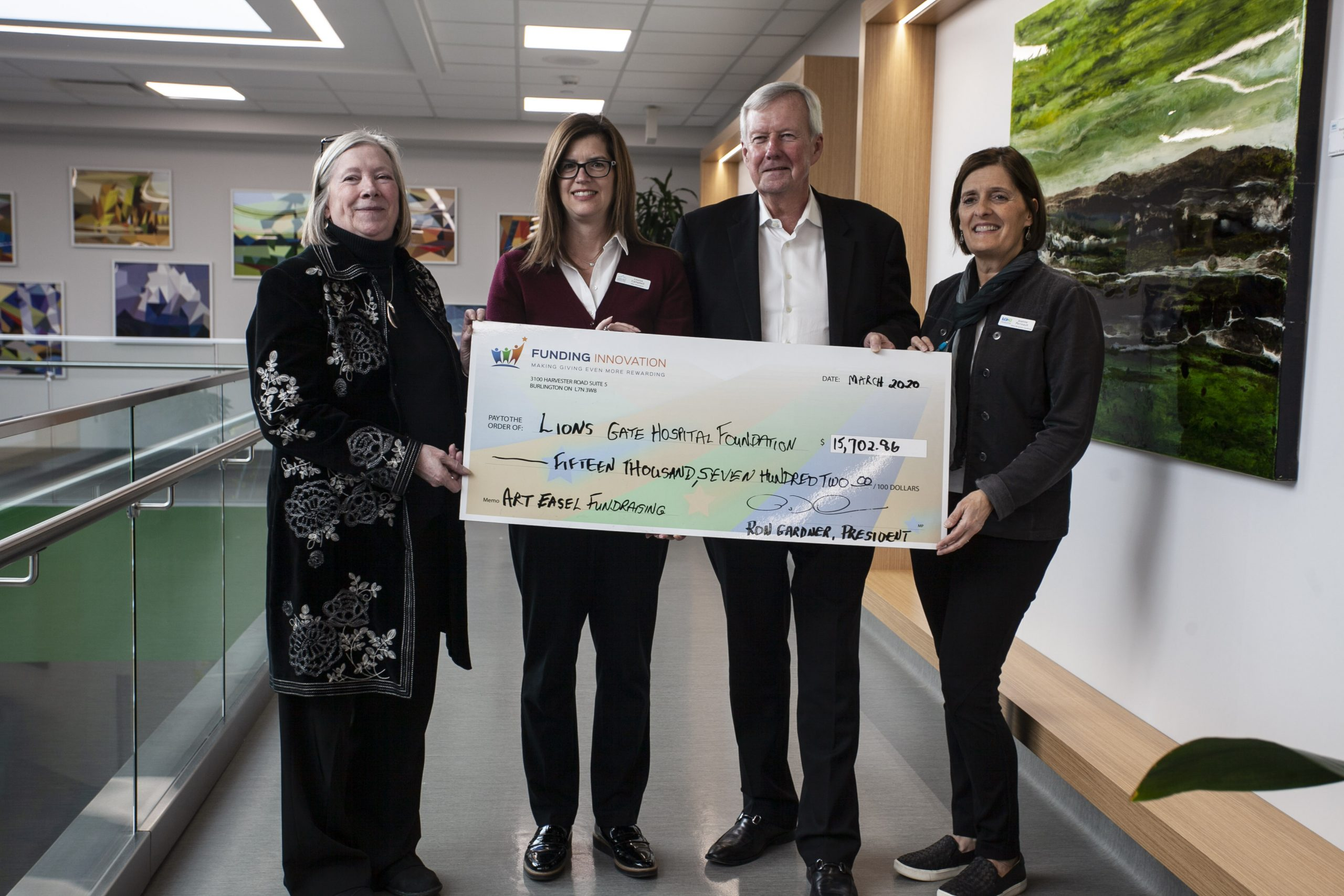 Lion's Gate Hospital Cheque Presentation